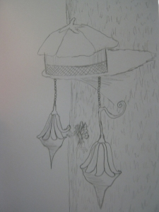 sketch of a fairy yurt on shelf fungus with hibiscus roof