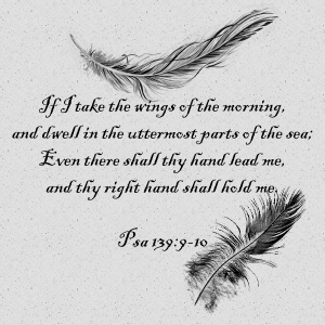 If I take the wings of the morning, and dwell in the uttermost parts of the sea; Even there shall thy hand lead me, and thy right hand shall hold me.  Psa 139:9-10
