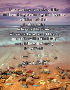 But as many as received Him, to them He gave the right to become children of God, to those who believe in His name: who were born, not of blood, nor of the will of the flesh, nor of the will of man, but of God. John 1:12-13