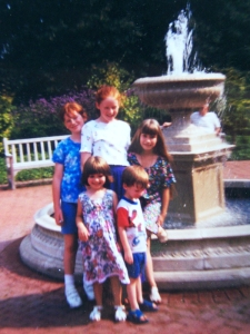 A picture of us as children. My sister, I, and Kimberly are in back. Kimberly's sister and my brother are in front.