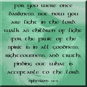 For you were once darkness, but now you are light in the Lord. Walk as children of light 9 (for the fruit of the Spirit[b] is in all goodness, righteousness, and truth), 10 finding out what is acceptable to the Lord.