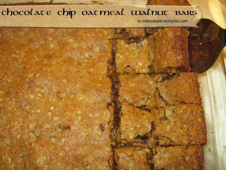 Chocolate Chip Oatmeal Walnut Bars recipe by marissabaker.wordpress.com