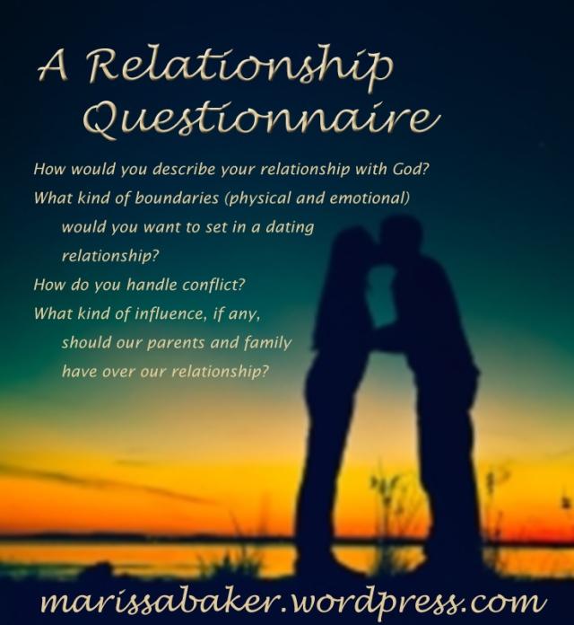 """A Relationship """"Questionnaire"""" by marissabaker.wordpress.com"""