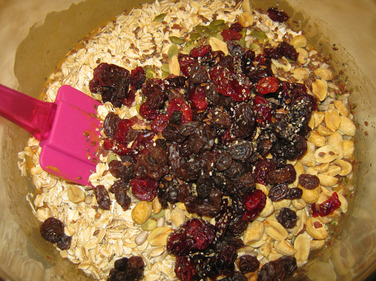 Stir-in the oats, dried fruit, seeds and nuts. Press the granola bar ...