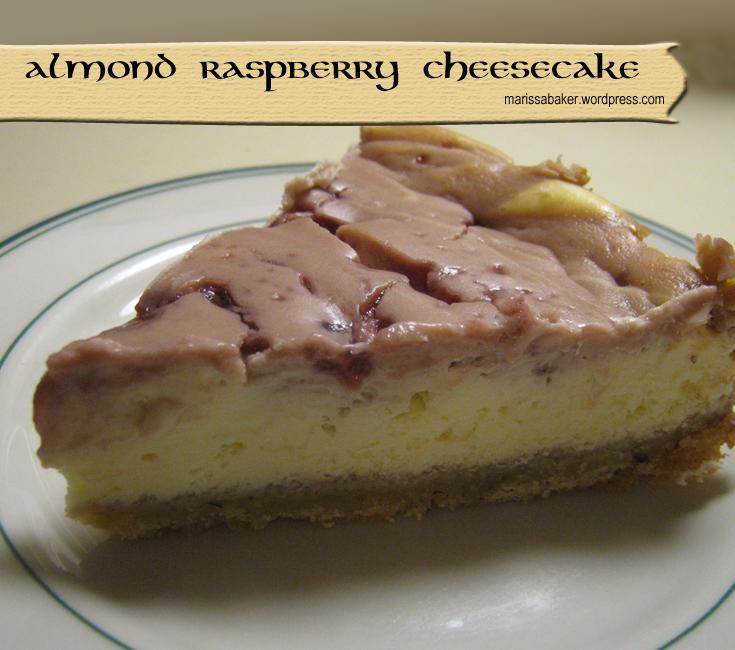 Almond Raspberry Cheesecake recipe by marissabaker.wordpress.com