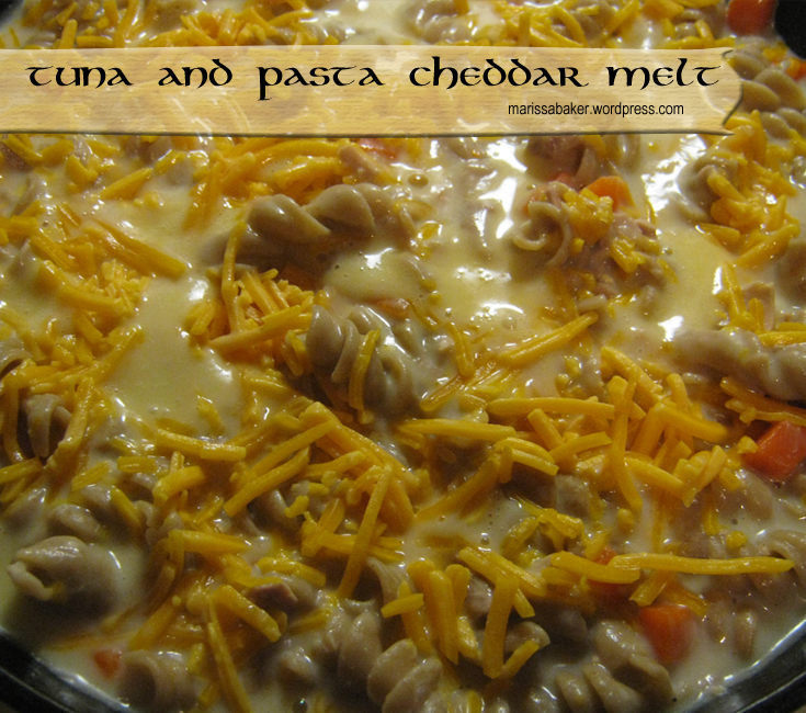 Tuna and Pasta Cheddar Melt recipe. marissabaker.wordpress.com