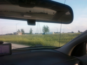 view from my car of a weigh station I passed on the way home