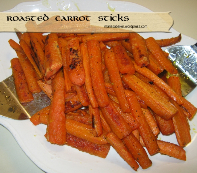 Roasted Carrot Sticks recipe marissabaker.wordpress.com