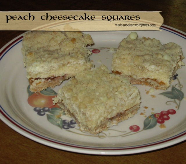Peach Cheesecake Squares   marissabaker.wordpress.com