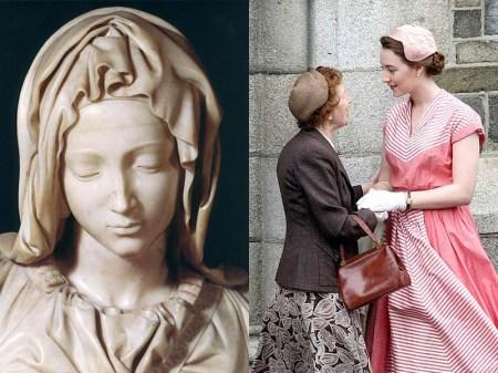 Left: Michelangelo's The Pietà (1498-1499). Right: film still from Brooklyn (2015, setting 1952)