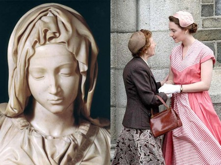 Left: Michelangelo's The Pietà (1498-1499). Right: film still from Brooklyn (2015, setting 1952)