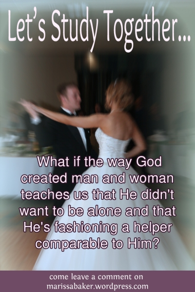 What if the way God created man and woman teaches us that He didn't want to be alone and that He's fashioning a helper comparable to Him? come leave a comment on marissabaker.wordpress.com