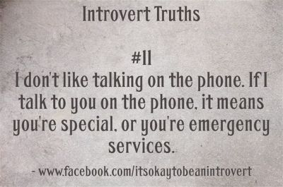 "some thoughts for introverts. Click to read article, ""Maybe The Telephone Isn't An Enemy"" 