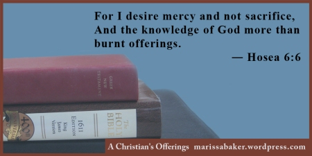 "click to read article, ""A Christian's Offerings"" 