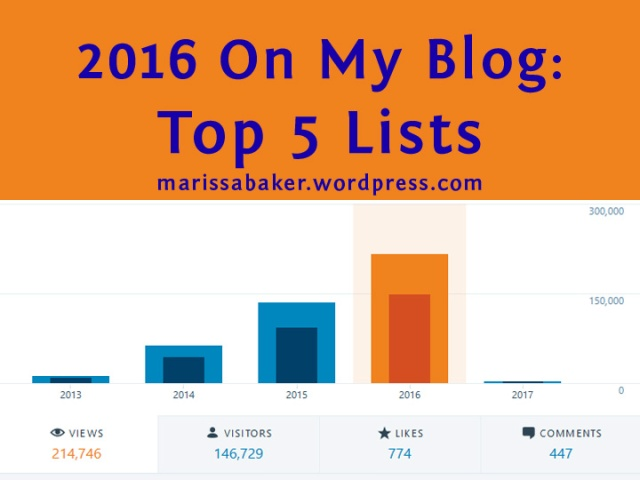 2016 On My Blog: Top 5 Lists for marissabaker.wordpress.com