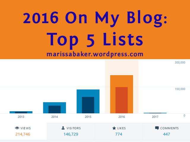 2016 On My Blog: Top 5 Lists for marissabaker.wordpress.com