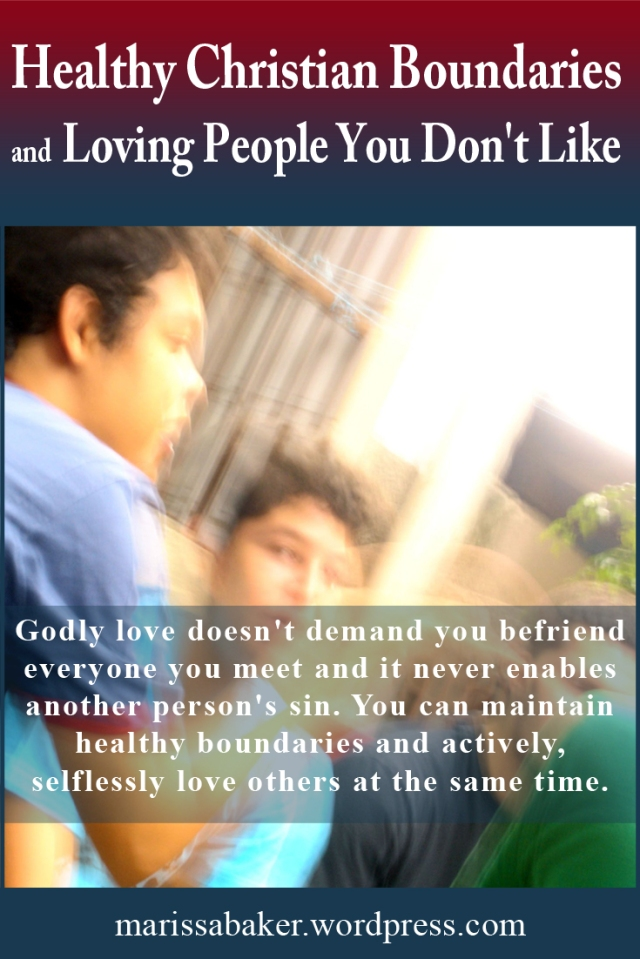 """click to read article, """"Healthy Christian Boundaries and Loving People You Don't Like"""" 
