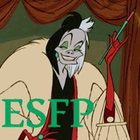 Cruella de Vil - ESFP. Visit marissabaker.wordpress.com for more Disney villain types