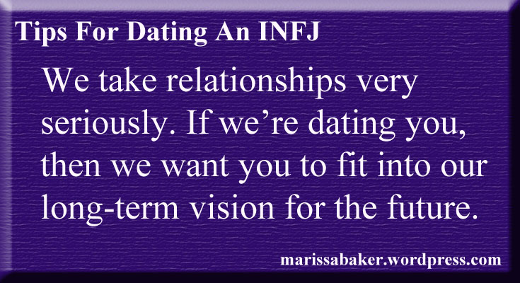 dating infj Profile of the infj personality - the counselor they seek meaning in relationships, ideas, and events, with an eye toward better understanding themselves and others.