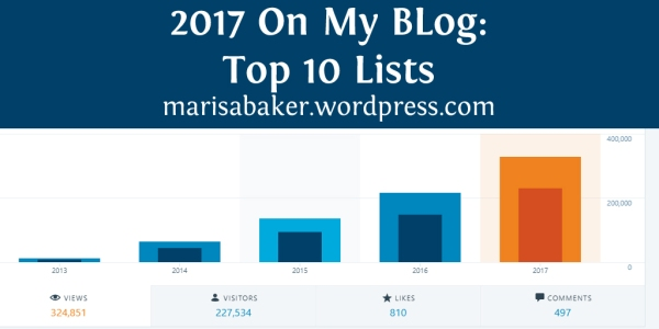 2017 On My Blog: Top 10 Lists for marissabaker.wordpress.com