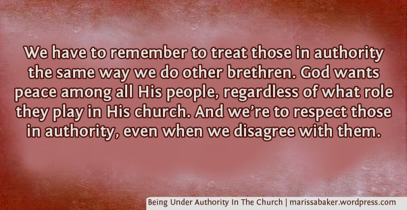 Being Under Authority In TheChurch