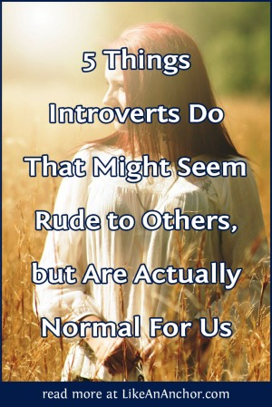 5 Things Introverts Do That Might Seem Rude to Others, but Are Actually Normal For Us | LikeAnAnchor.com