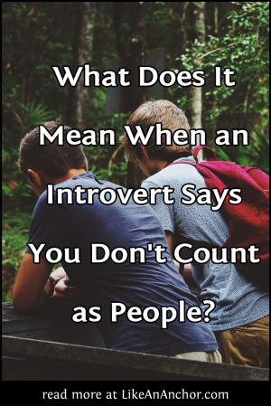 What Does It Mean When an Introvert Says You Don't Count as People? | LikeAnAnchor.com